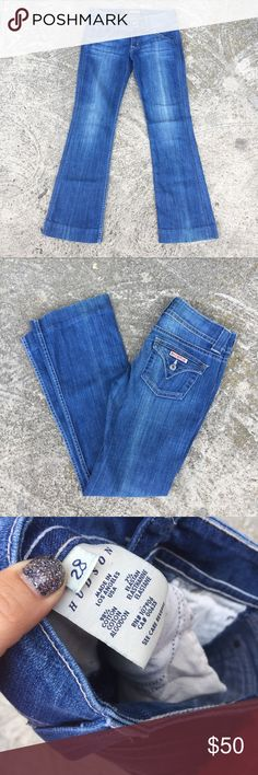 """Hudson jeans denim flare boot cut blue jeans Hudson jeans classic flare jeans with stretch. Size 28. 16"""" flat waist, 8"""" rise, professionally hemmed to 31"""" inseam but can be let out. No tryons or trades but offers welcome Hudson Jeans Jeans"""