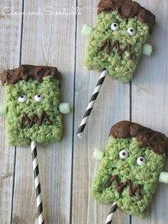 Frankenstein Rice Krispie Pops