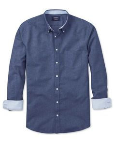Slim fit blue washed Oxford shirt