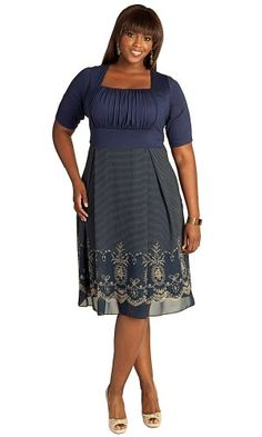 Fashion Bug Womens Plus Size Hayleigh Dress in Midnight Blue. www.fashionbug.us #curvy #plussize #FashionBug