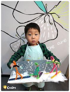 Bambini (4·5세) 수업 - 스키타는 사람 [시흥시 정왕동 배곧 크리아트 미술학원] : 네이버 블로그