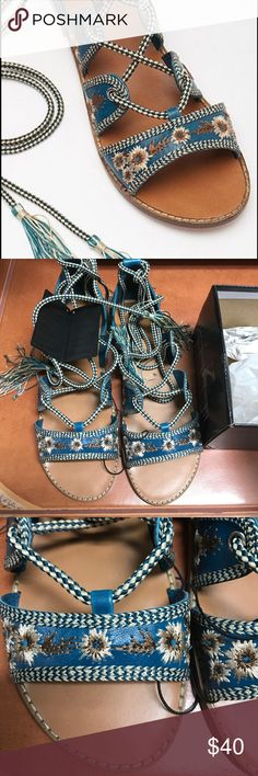 Forever 21 embroidered gladiator sandals Beautiful blue floral embroidered gladiator sandals! Brand new with tags and box! Purchased these for myself but they were a bit too small for me 😢 NO TRADES & PRICE IS FIRM Shoes