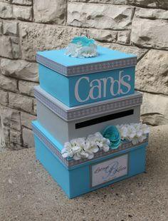 Custom Wedding Card Box, 3 Tier, Card Holder, Square, Malibu Blue and Gray Blue Grey Weddings, Grey Wedding Decor, Blue Wedding, Wedding Reception, Dream Wedding, Wedding Decorations, Wedding Ideas, Reception Ideas, Wedding Blog