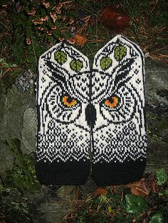 Unlike her sister, this owl is positioned straight, and will be watching you wearing these mittens. Knitted Mittens Pattern, Crochet Gloves, Knit Mittens, Knitting Socks, Hand Knitting, Knitting Patterns, Crochet Patterns, Fingerless Mittens, Loom Knitting