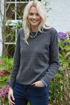 Happy Kinda Life - A cozy cotton blend pull-on jumper in slate grey with flattering, bum skimming styling and a tres chic curved hem. The relaxed fit and clever style details make this sure to be a winter winner in anybody's wardrobe.