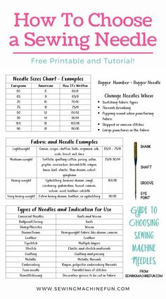 Sewing Needle Sizes, Sewing Needles, Sewing Stitches, Sewing Machine Basics, Sewing Basics, Sewing For Beginners, Sewing Machine Repair, Sewing Machines, Beginner Sewing Patterns