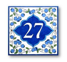 Address plaque for house Diy Signs, Home Signs, Address Plaques For House, Tile House Numbers, Painting Ceramic Tiles, Ceramic Decor, Address Numbers, Country Signs, Hand Painted Ceramics