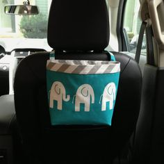 New HEADREST CAR CADDY now available for most GreenGoose Car Bags, Elephants Turquoise, Car Litter Bag, Car Accessories