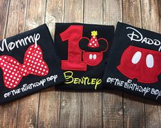 Mickey Mouse birthday shirts, matching parent, mickey mouse birthday, mickey party, mickey tees, boys mickey shirts, boys embroidered mickey