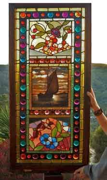 Original Photo of Antique American Victorian Stained Glass Window AE545