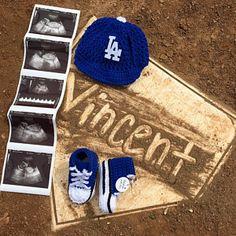 Baseball Pregnancy Announcement, Baseball Maternity, Cute Baby Announcements, Baby Announcement Photos, Baseball Gender Reveal, Baby Boy Baseball, Baseball Hat, Baby Gift Sets, Baby Gifts