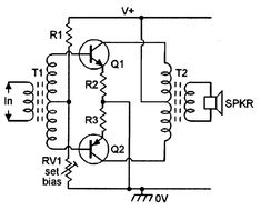 Basic circuit of a class-AB amplifier.