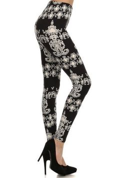 "Damask Black & White Chandelier Leggings! - Elastic waistband. - Super stretchy leggings. - Polyester & spandex. - Super soft like velvet. - One size fits most. - Measurements : Waist : 24"" - 30"" inch"