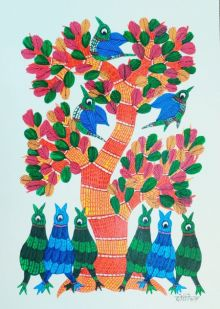 Birds Under The Tree 4 traditional art by Choti Gond Artist | ArtZolo.com