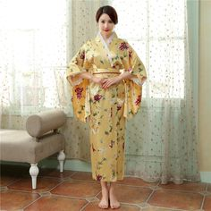 Hot Sale Fashion Women Kimono Yukata Haori With Obi Japanese Style Evening Party Dress Asian Clothing Flower One Size H0055-B