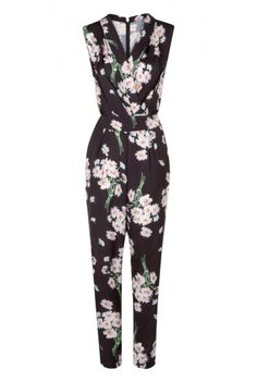 Long Tall Sally | Long Jumpsuits For Tall Women - Floral Printed Jumpsuit In Black At LTS