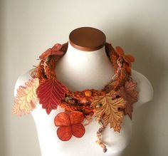 Leaf Scarf - Flame Orange with Honeycomb Yellow, Coral, and Orange Embroidered Leaves- Fiber Art Scarf