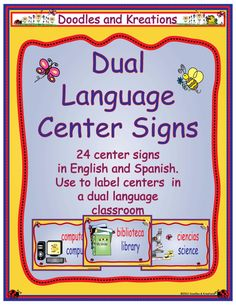 Dual Language Pocket Chart Center Signs go along with our Dual Language Center Signs.Use them in your pocket chart to help organize students when . Bilingual Centers, Bilingual Classroom, Bilingual Education, Bilingual Kindergarten, Learning Centers, Learning Spanish, Spanish Class, Dual Language Classroom, Language Immersion