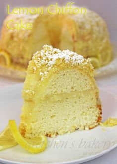 Moist, lemony Chiffon Cake with Lemon Custard filling!