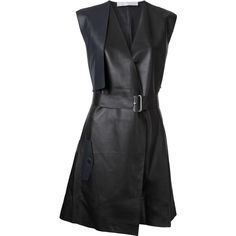 Dion Lee Trench leather dress (81.235 RUB) ❤ liked on Polyvore featuring dresses, leather, black, genuine leather dress, dion lee, dion lee dress, real leather dress and leather dresses
