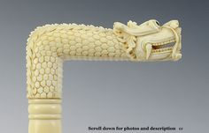 Meiji Period Carved Ivory Chinese Dragon Cane or Parasol Handle