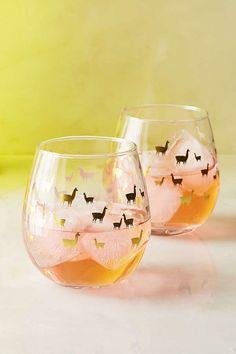 Foiled Llama Stemless Wine Glass Set