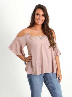 Mustard Seed Clothing Deep V Bandeau Cold Shoulder Shirt for Women in Rose Smoke