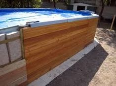 habillage piscine hors sol intex - Google Search Intex Above Ground Pools, In Ground Pools, Rectangle Above Ground Pool, Piscine Diy, Swimming Pool Decks, Lawn And Landscape, Shipping Container Homes, Garden Pool, Pool Designs