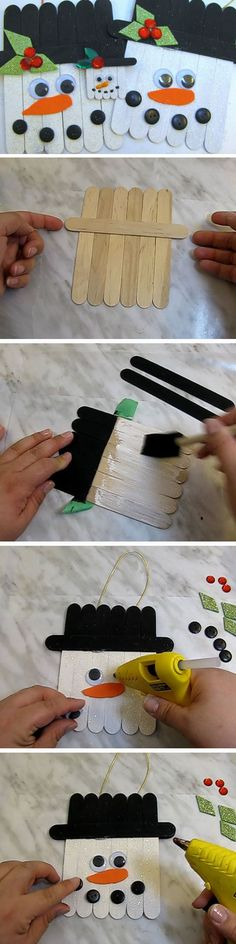 Popsicle Stick Snowman | 20+ DIY Christmas Crafts for Kids to Make                                                                                                                                                                                 More