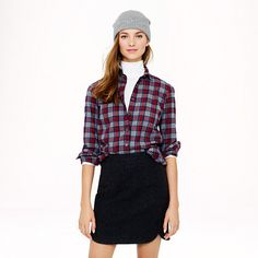 J.Crew - Boy shirt in grey tartan. I have this! It's great w/jeans or a black silk taffeta dance skirt (+ a little bling)!