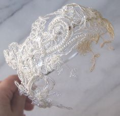 Pale Ivory Lace Headband Bridal Head Piece by TheRedMagnolia