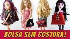 Como fazer Bolsa sem Costura para Barbie etc feita com embalagem de cosm...