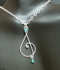 Treble Clef Necklace, Music note necklace, sterling silver on Etsy, $19.99