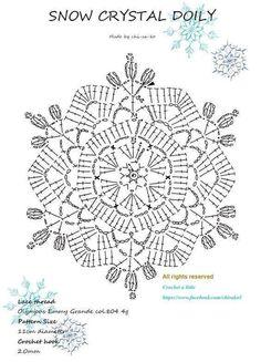 Lovely motif to crochet. Crochet Snowflake Pattern, Crochet Stars, Crochet Snowflakes, Crochet Doily Patterns, Crochet Mandala, Crochet Diagram, Thread Crochet, Filet Crochet, Crochet Flowers