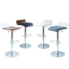 Swerve Contemporary White and Chrome Adjustable Barstool