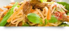 Warm Asian Salad, Ginger & Chilli: A delicious and easy salad with lamb and noodles. As seen on Food in a Minute. Food In A Minute, Easy Salads, Food Ideas, Spaghetti, Asian, Warm, Fresh, Inspired, Ethnic Recipes