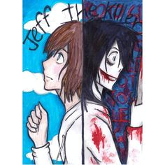 jeff the killer two faces by NENEBUBBLEELOVER ❤ liked on Polyvore featuring creepypasta and anime
