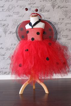 Lady Bug Black and Red Polka Dot Tulle Tutu Dress-up Halloween Costume Flower Girl 2T 3T 4T Photo Prop Children Toddler Infant Custom Croche. $39.00, via Etsy.