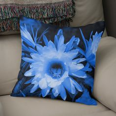 Discover «Cactus Flowers blue 1389», Numbered Edition Throw Pillow by Barbara Fraatz - From $27 - Curioos Framed Art Prints, Canvas Prints, Welcome Gifts, Soft Fabrics, Cactus, Tapestry, Throw Pillows, Artist, Artwork