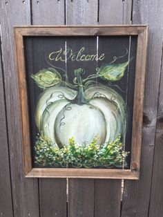 Welcome sign  white pumpkin  fall decor Outdoor by RebecaFlottArts