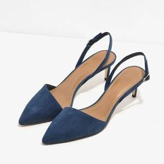 0b99c2a524 Blue Pointed Slingback Heels | CHARLES & KEITH ❤ liked on Polyvore  featuring shoes, pumps