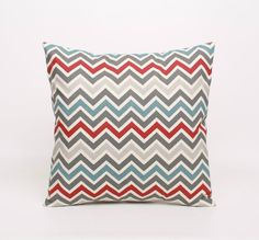 Chevron Throw Pillow Cover in Red Blue Gray by DimensionsHomeDecor, $17.00