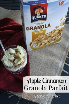 This Apple Cinnamon Granola Parfait is a super easy snack or breakfast! Just 3 ingredients and minutes to make. #LoveMyCereal #QuakerUp #ad