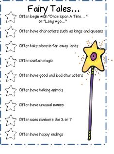 Fairy Tales Checklist (from First Grade Wow)