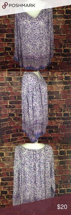 """Lucky brand peasant blouse size 3x Lucky brand long sleeve peasant boho blouse size 3x. Bust 29"""" length 30"""" Lucky Brand Tops Blouses"""