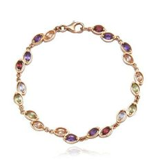"""18k Yellow Gold Plated Sterling Silver Multi-Gemstone Bracelet, 7.25"""" Amazon Curated Collection. $74.00. Gemstones may have been treated to improve their appearance or durability and may require special care.. Made in China"""
