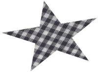 Mercerie | Produits CSM Coudes Thermocollants et pré perforés en forme d'étoile.  Carreaux noirs et blancs
