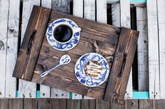 Breakfast in bed anyone? Or at least want to make your coffee table a little cuter? This tray is perfect for both and so much more! Options are endless. >>> This tray is 14 x 20.5. It is handout and hand stained in Dark Walnut. The size and color can both be customized. Just message us before if you are interested in a custom order. Check out our other trays that are available:  Serving Tray: https://www.etsy.com/listing/167195866/wooden-serving-tray?ref&#x...