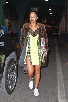 Rihanna mixes all the textures in this lace-fur combo.
