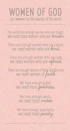 Women of God can never be like the women of the world